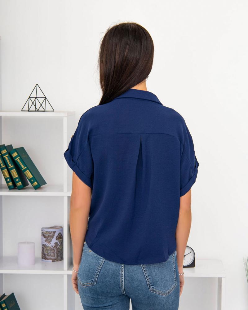 Блузка на пуговицах и завязке с карманами р-р: 50 - 54 цвет: синий - 3