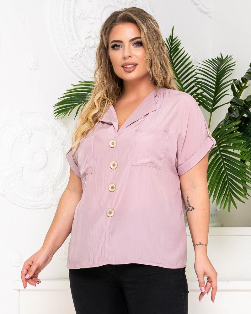 Блузка с карманами и фальш-пуговицами р-р: 50 - 54 цвет: лиловый - 5