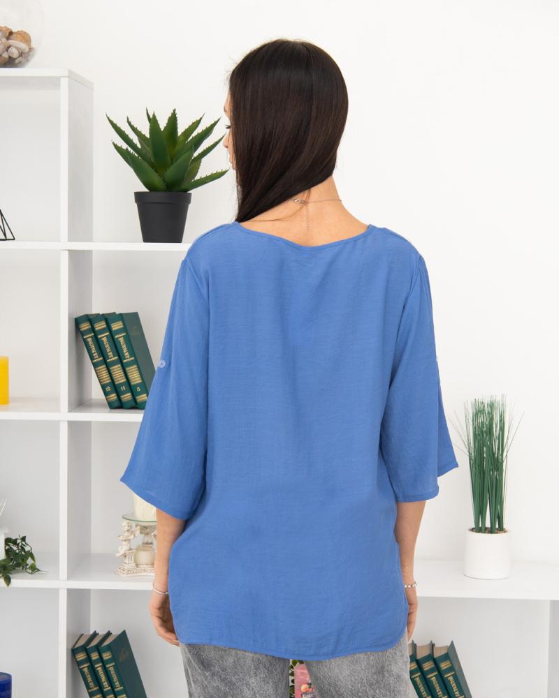Блузка вишивка Ромашка 50 - 56, колір: синій - 5