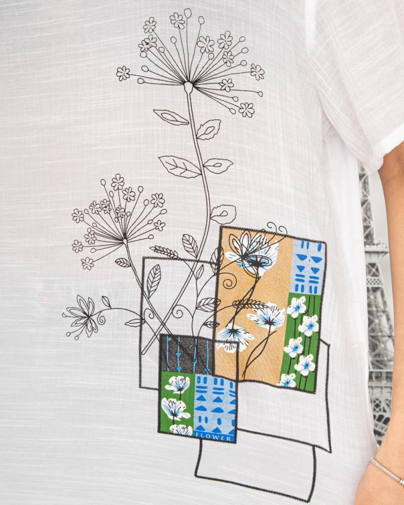 Блузка Полевые Цветы 50 - 56, цвет: белый - 5
