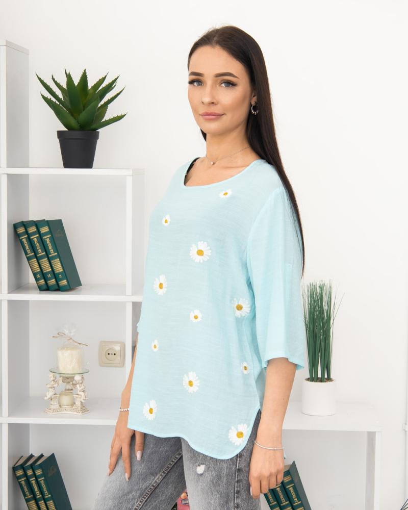 Блузка вишивка Ромашка 50 - 56, колір: бірюзовий - 3