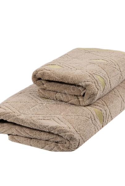 Полотенце махровое, орнамент ромб цвет: бежевый