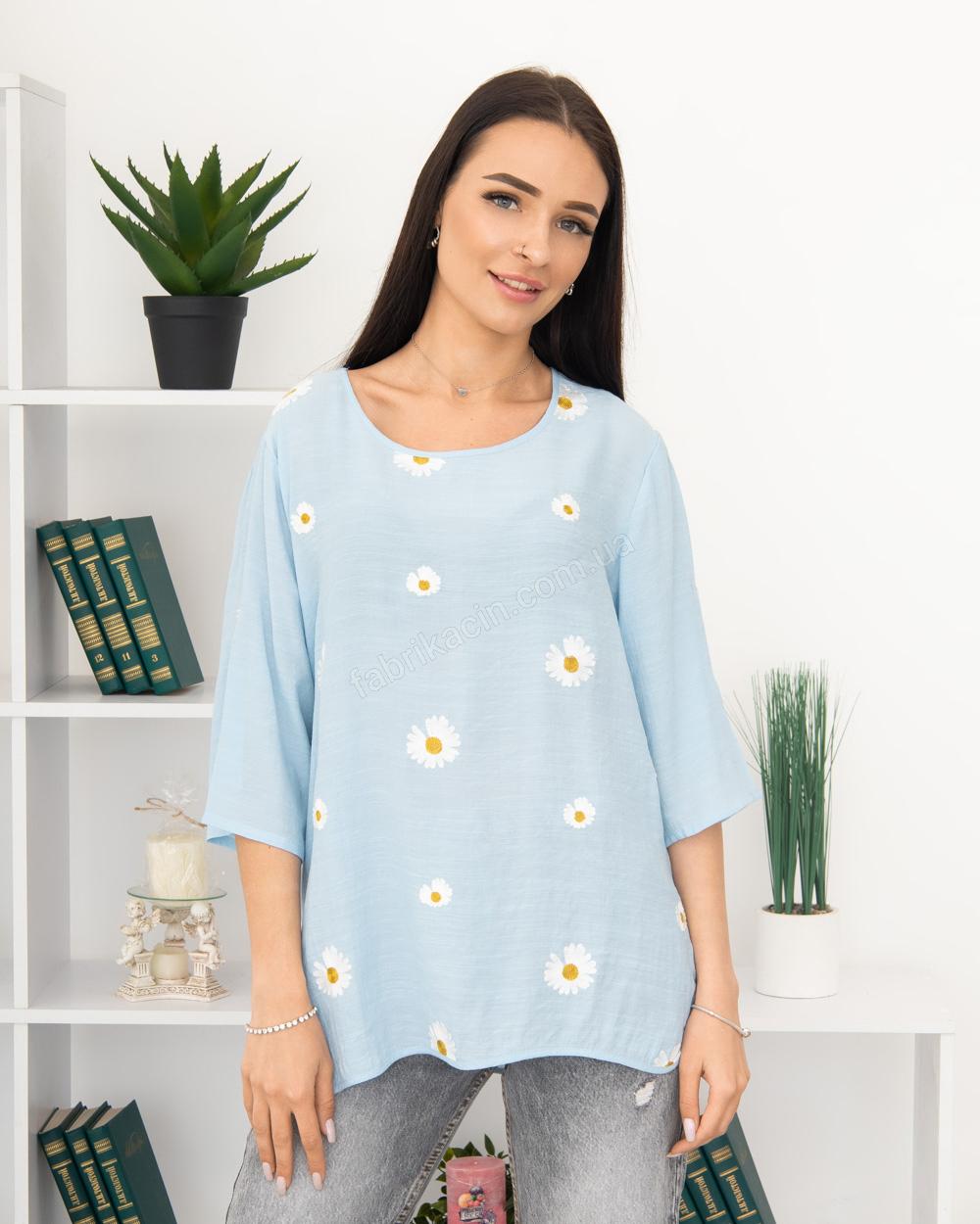 Блузка вишивка Ромашка 50 - 56, колір: блакитний - 1