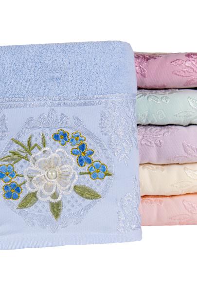 Полотенце махровое жемчужная бусинка 70 х 140 цвет: голубой