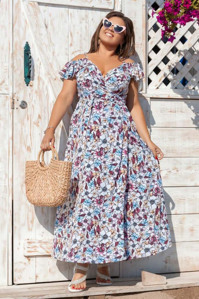 Платье 2035 длинное на запах 1-4, цвет: белый - 3