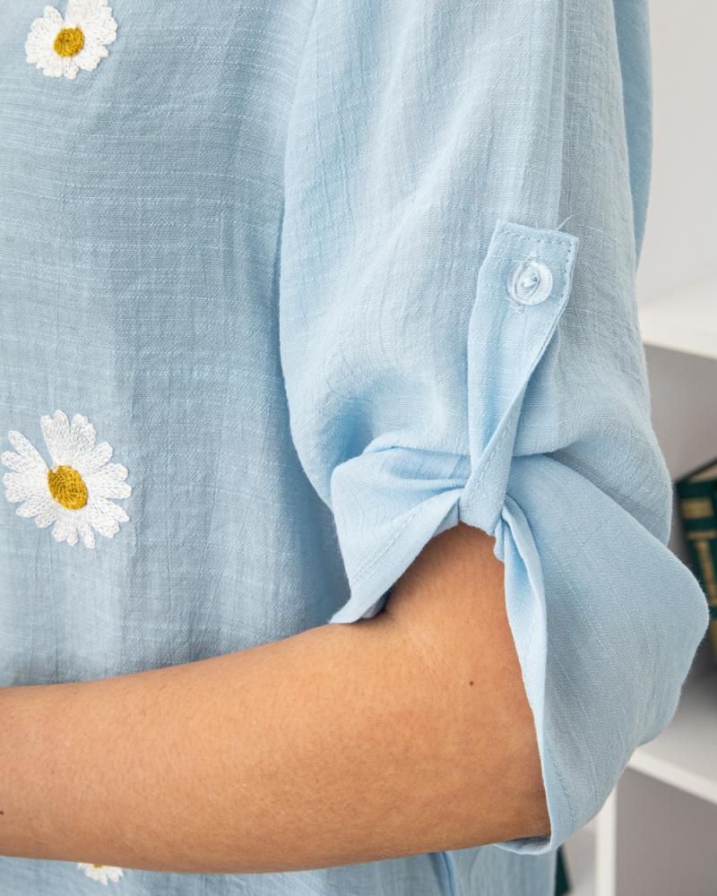 Блузка вишивка Ромашка 50 - 56, колір: блакитний - 5