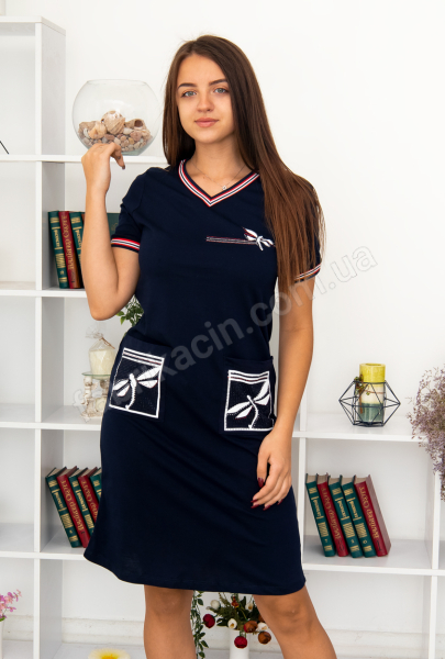 Платье с карманами Стрекоза р-р : 46 - 56  цвет : синий
