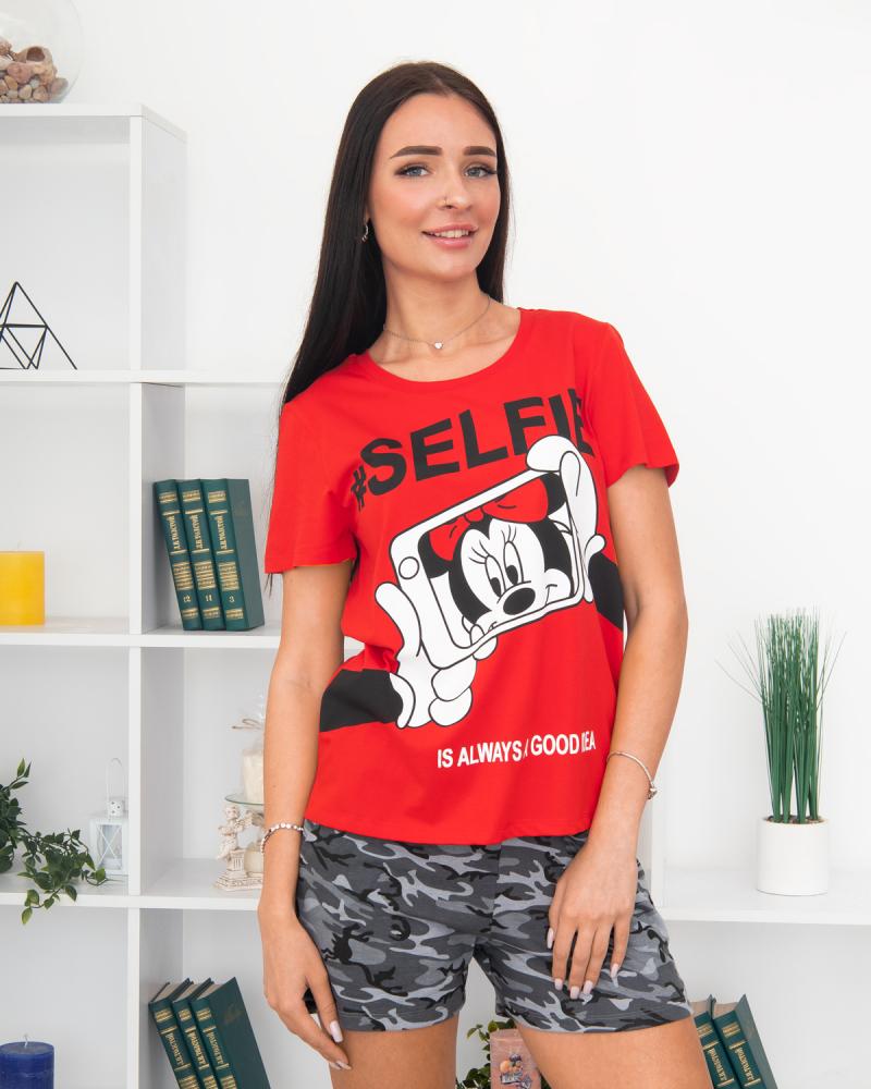 Футболка с шортами SELFIE Микки р-р: 44 - 50 цвет: красный-хаки - 2