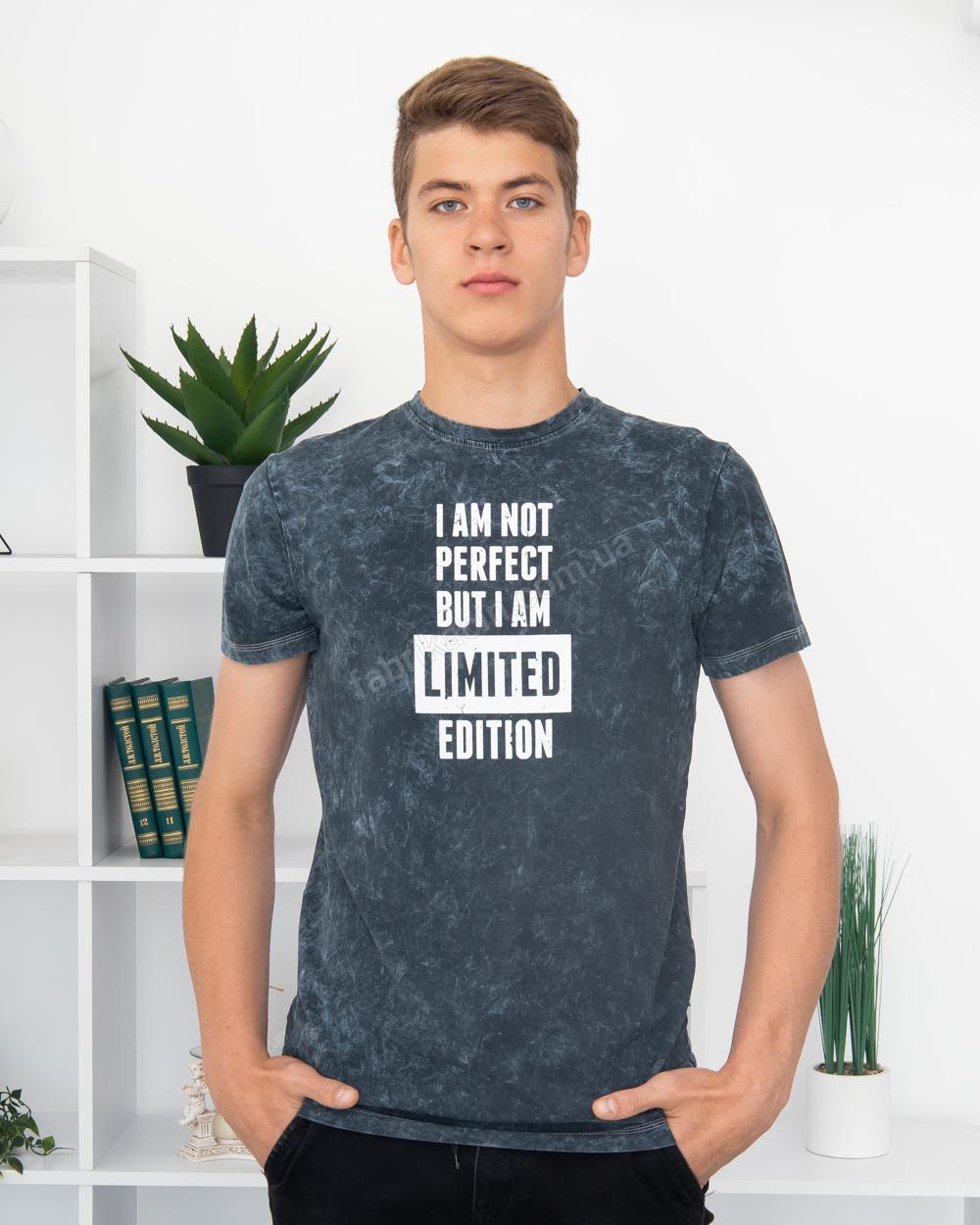 Футболка I AM NOT PERFECT... 44 - 52 колір: джинс - 1