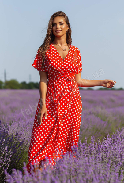 Сукня на запах у горох рукав-кльош 1135 р-р: 44 - 50  колір: червоний