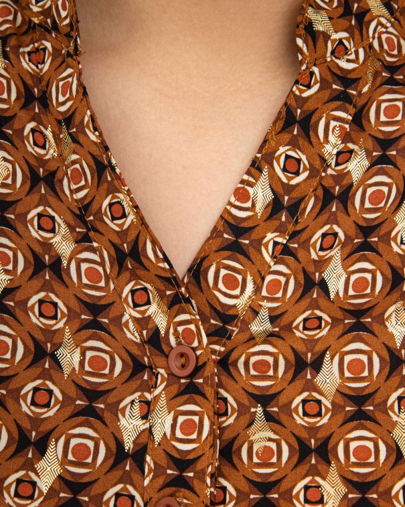 Платье-рубашка с поясом и карманами р-ры: 50 - 56 цвет: карамельный - 5