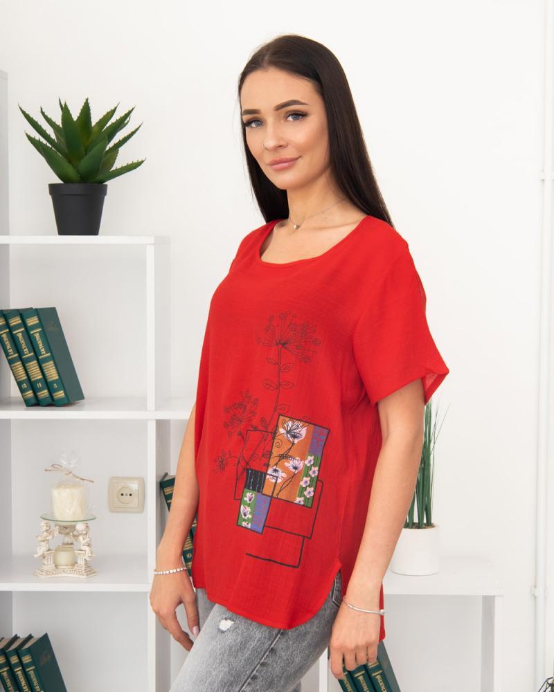 Блузка Полевые Цветы 50 - 56, цвет: красный - 3