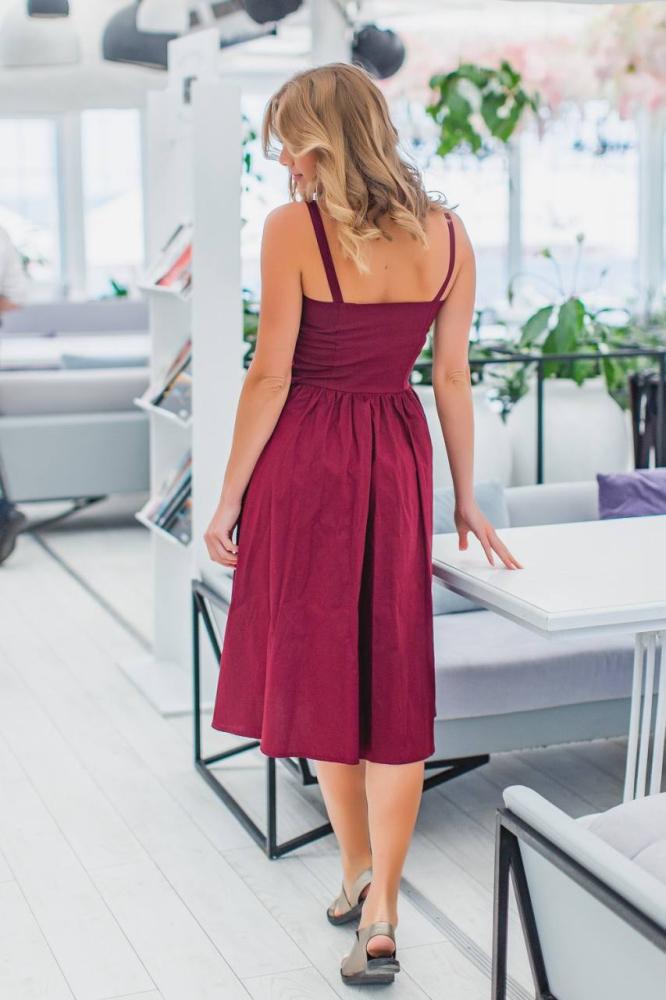 Сукня 2030 однотонна 1-4, колір: бордовий - 3