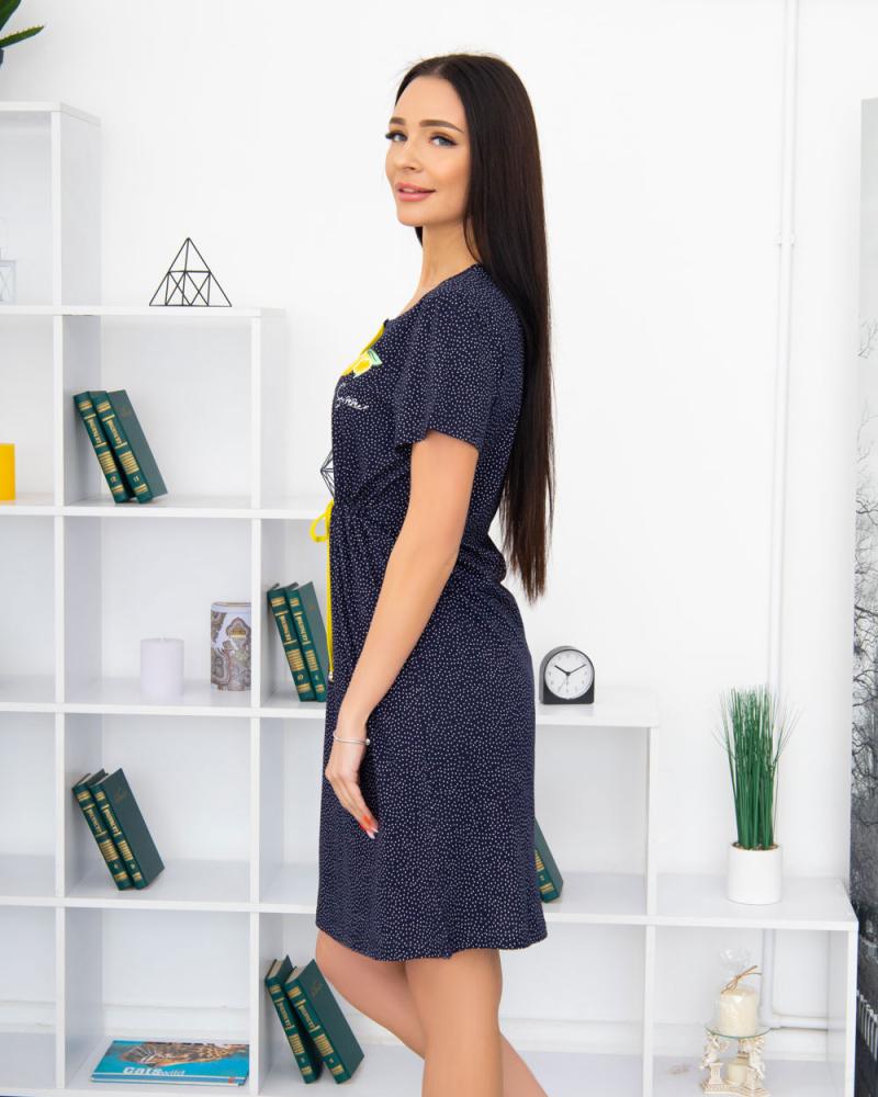 """Платье трикотажное на три пуговки """"Лимон"""" 100% хлопок 46 - 56 , цвет: синий - 2"""