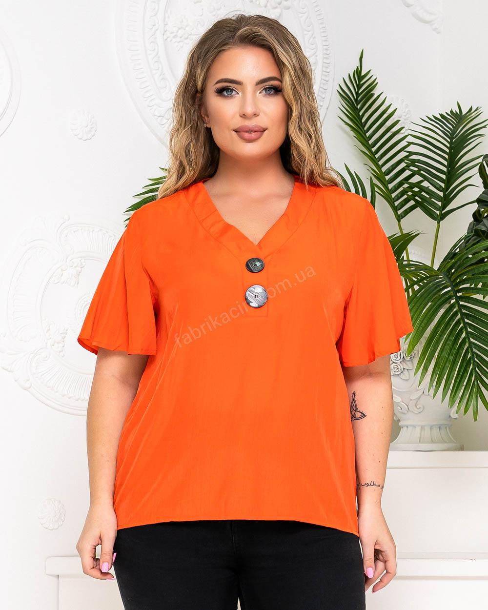 Блузка на двух пуговицах р-р: 50 - 56 цвет: кирпичный - 1