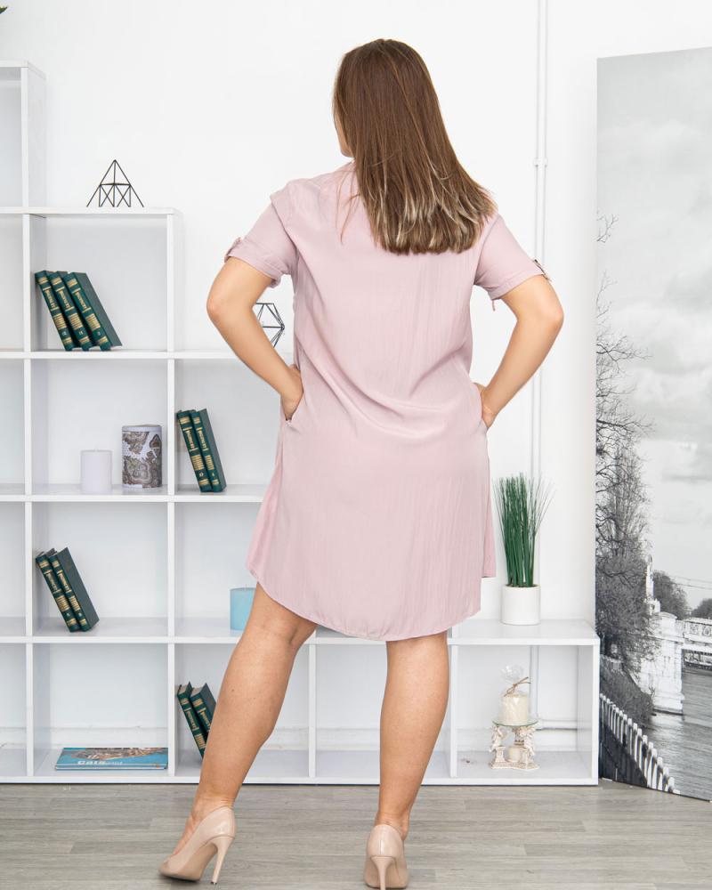 Платье-рубашка с поясом и карманами р-ры: 50 - 54 цвет: лиловый - 3