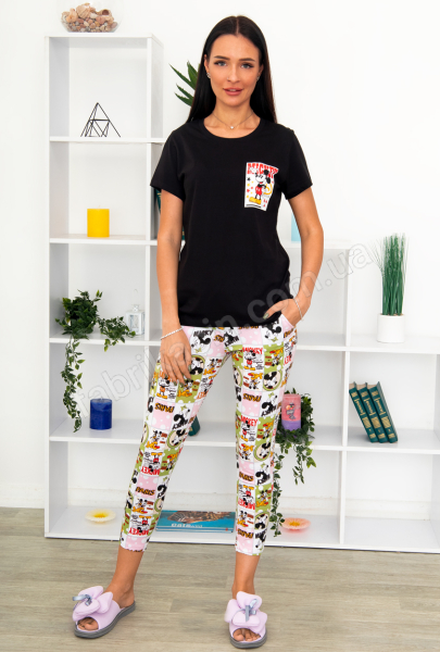 Піжама Мультик футболка з штанами  р-р: 42 - 52, колір: чорний