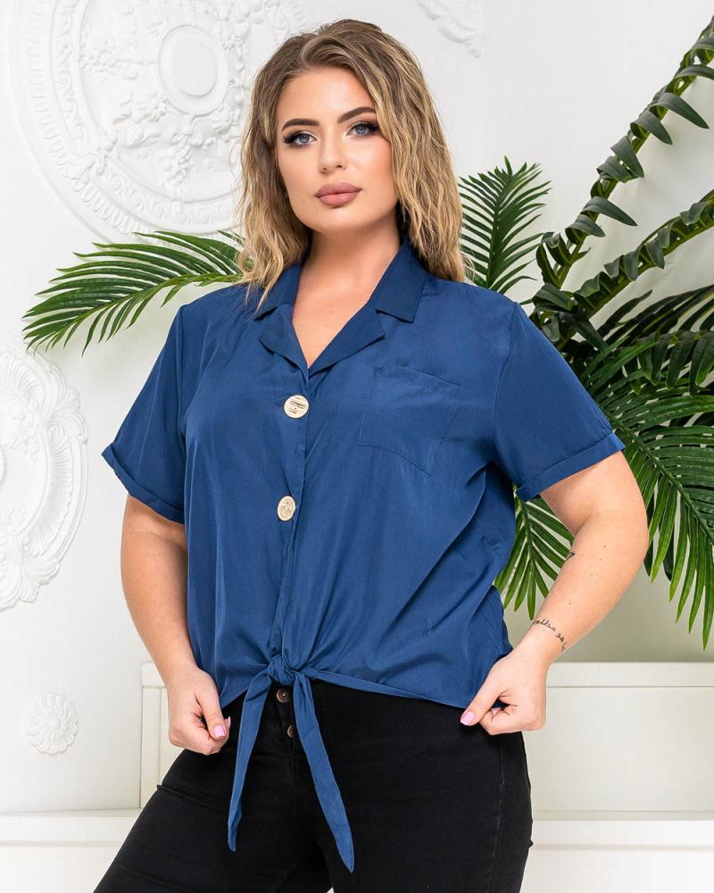 Блузка на ґудзиках і зав'язці р-р: 50 - 54 колір: синiй - 3