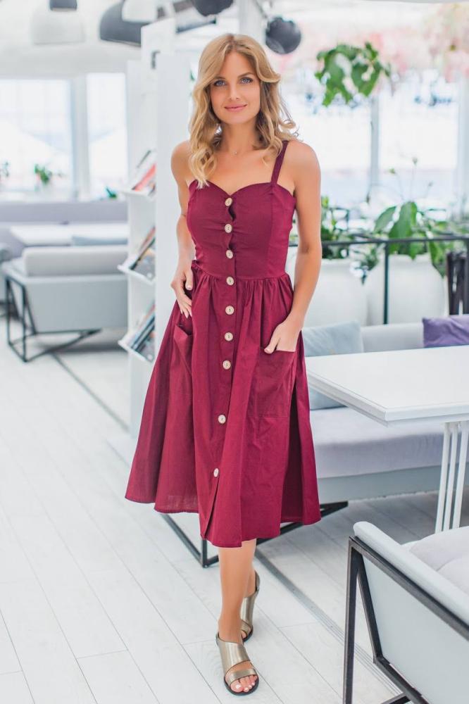 Сукня 2030 однотонна 1-4, колір: бордовий - 2