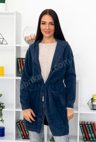 Кардиган альпака на завязке с капюшоном и карманами р-р: XL-2XL цвет: синий