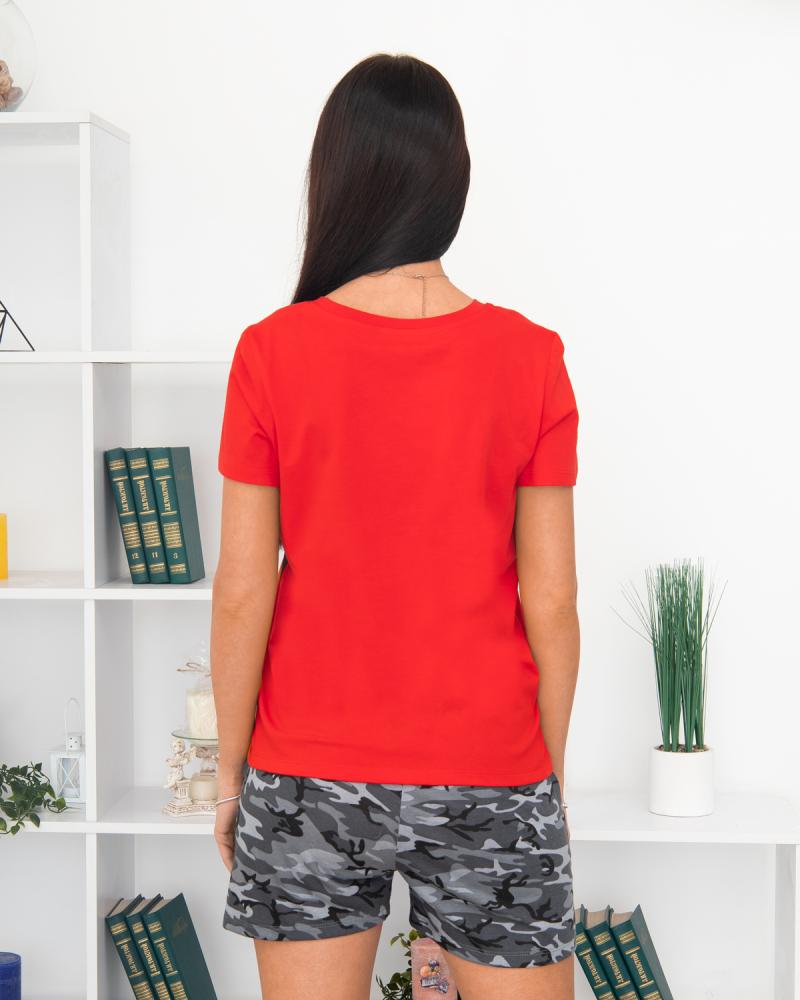 Футболка с шортами SELFIE Микки р-р: 44 - 50 цвет: красный-хаки - 4