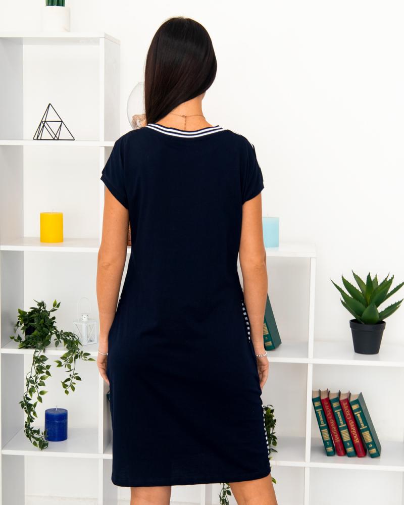 Платье полоска Message , р-р: 46- 56, цвет: синий - 3