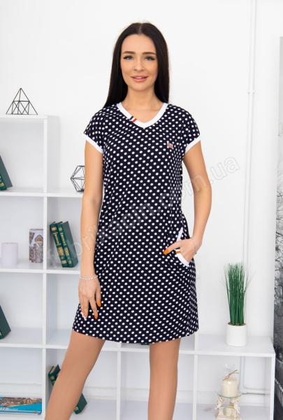 Платье T320 MILVANA горох  46 - 56, цвет: синий