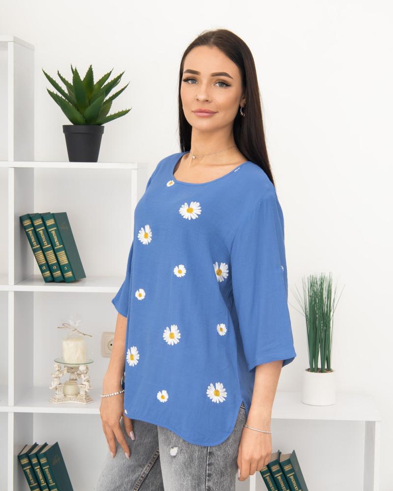 Блузка вишивка Ромашка 50 - 56, колір: синій - 4