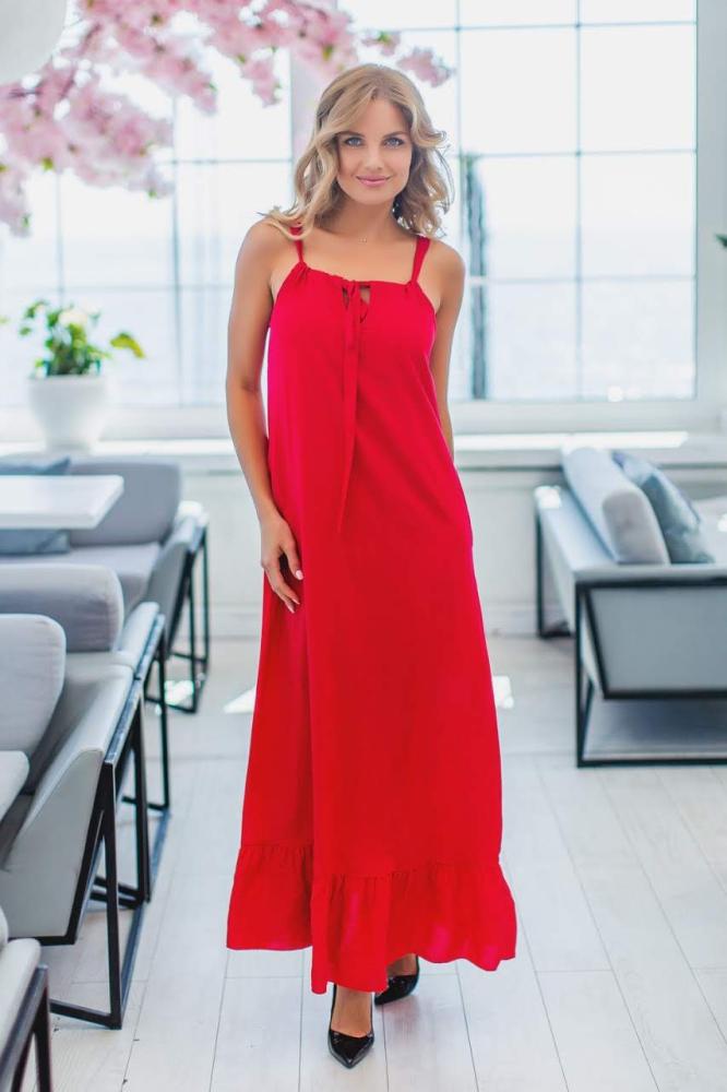 Платье 4009 верх на завязке, низ волан 1-4, цвет: красный - 2