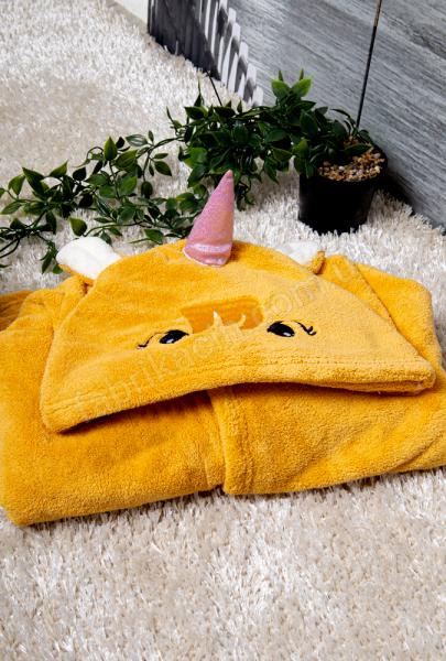 Рушник-пончо мікрофібра Єдиноріг, колір: жовтий