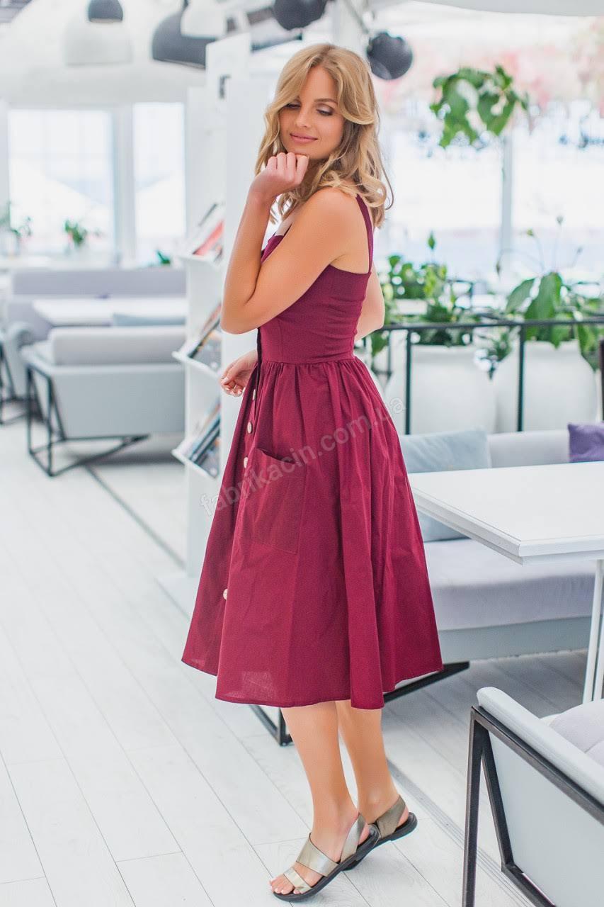 Сукня 2030 однотонна 1-4, колір: бордовий - 1