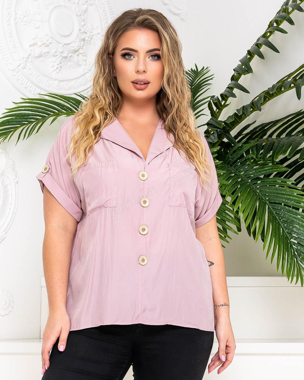 Блузка с карманами и фальш-пуговицами р-р: 50 - 54 цвет: лиловый - 1