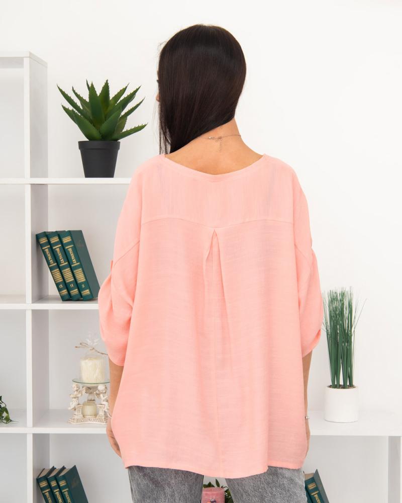 Блузка однотонная 50 - 56, цвет: розовый - 4