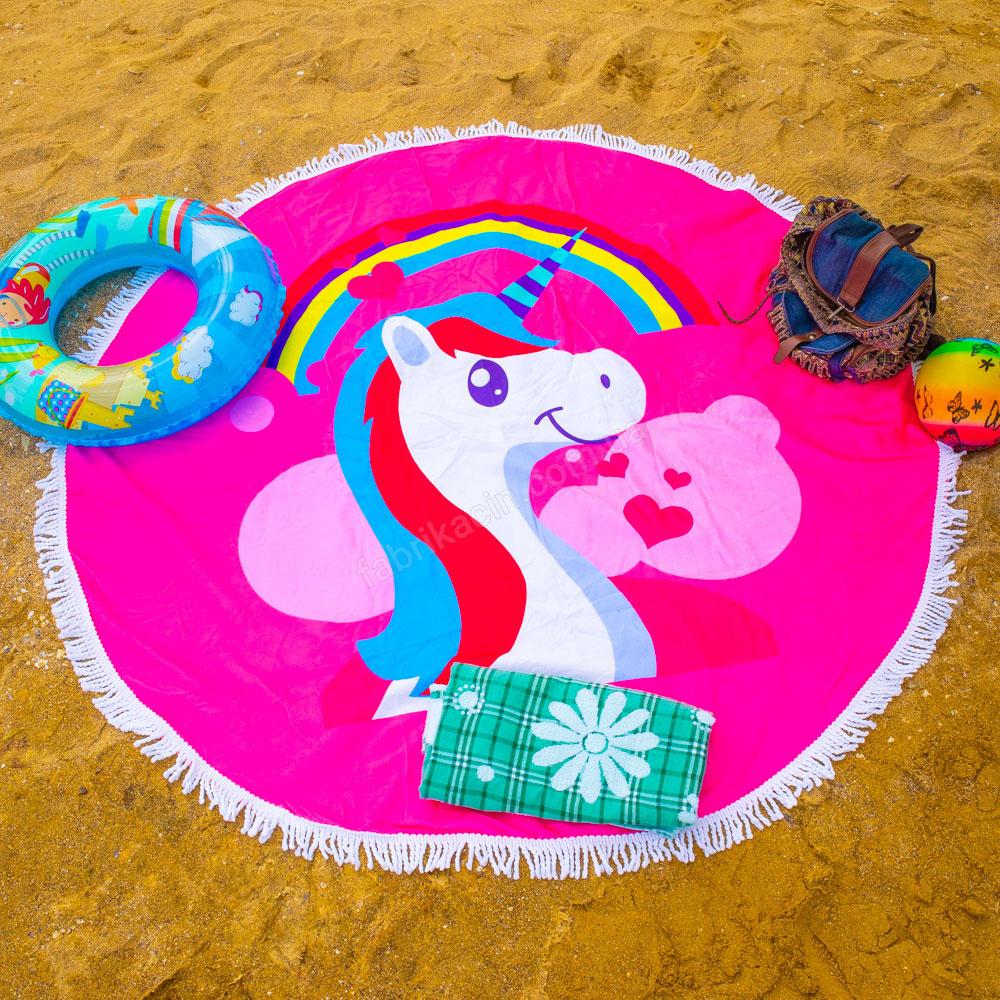 Рушник пляжний бахрома 150 х 150 єдиноріг колір: рожевий - 1