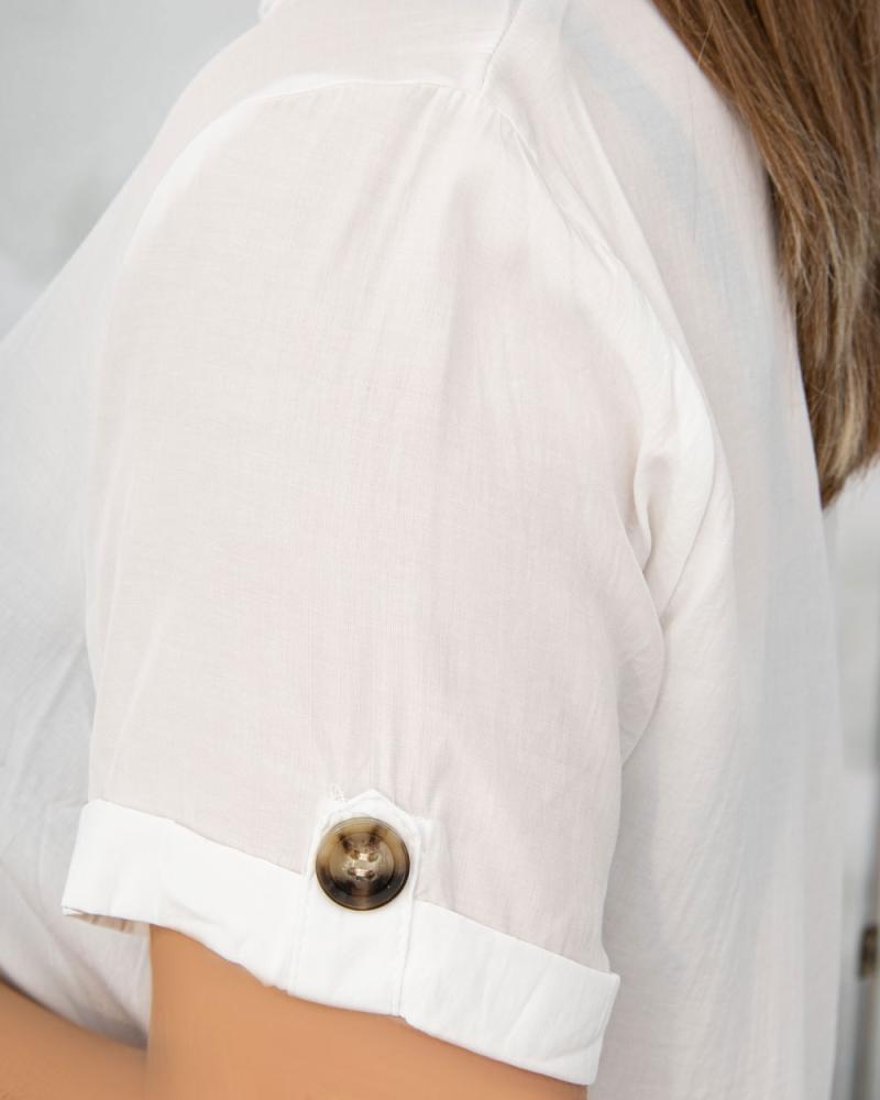 Платье-рубашка с поясом и карманами р-ры: 50 - 54 цвет: белый - 4