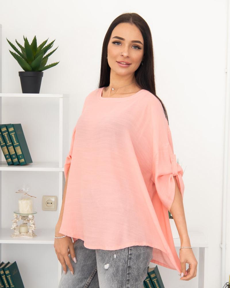 Блузка однотонная 50 - 56, цвет: розовый - 3