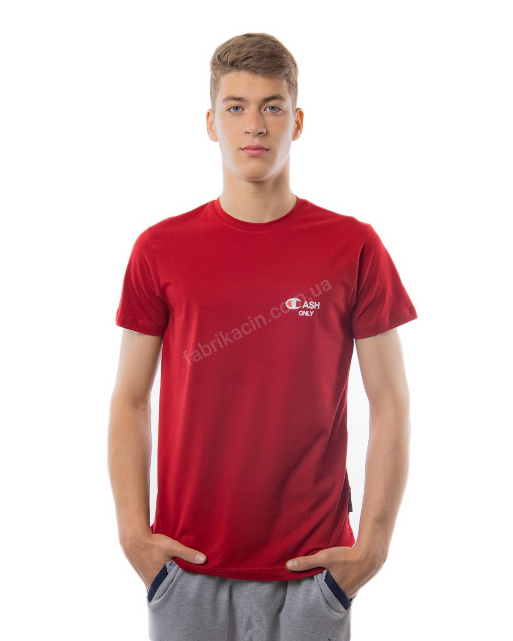 Футболка однотонная с надписью 44 - 50 цвет: бордовый - 1