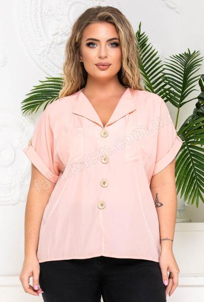 Блузка с карманами и фальш-пуговицами р-р: 50 - 54 цвет: розовый