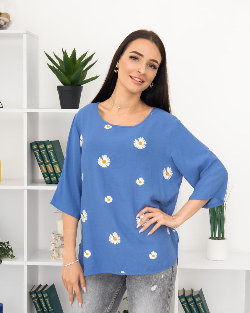 Блузка вишивка Ромашка 50 - 56, колір: синій - 3