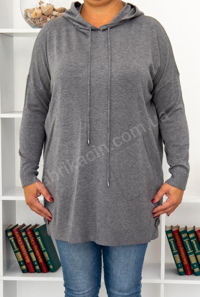 Туніка з капюшоном, кишенями батал, р-р: XL-3XL, колір: сірий