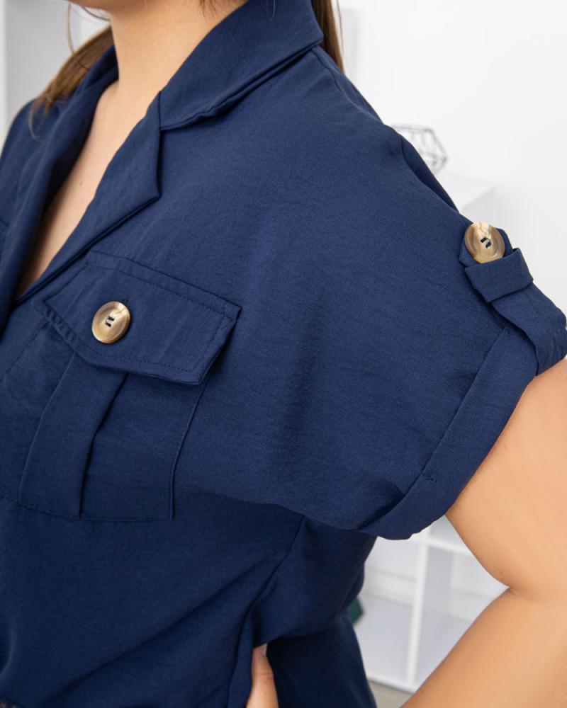 Блузка на пуговицах и завязке с карманами р-р: 50 - 54 цвет: синий - 4